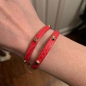 Stella & Dot Hudson Red Leather Studded Bracelet